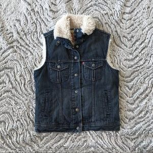 Levi's Faux Fur Lined Denim Vest